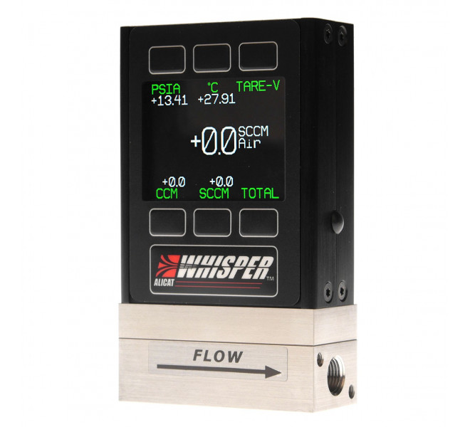 Whisper-Series Low Pressure Drop Mass Flow Meter Controls mass flow, volumetric flow or absolute pressure with one device